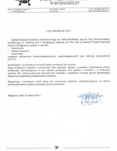 Referencje 10 Poczta Polska UPP w Bydgoszczy 2004r