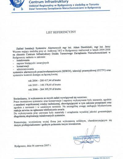 Referencje 11 Poczta Polska CI w Bydgoszczy 2007r