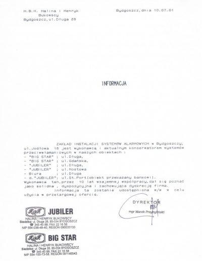 Referencje 14 HBH JUBILER w Bydgoszczy 2001r