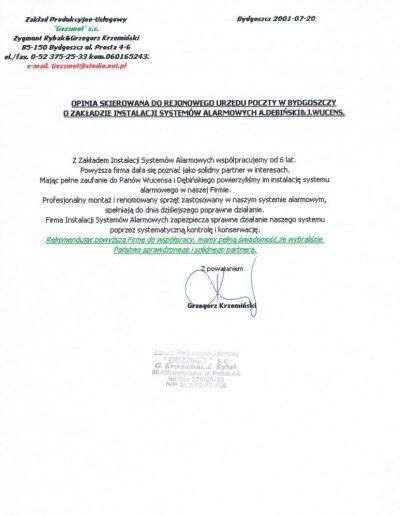 Referencje 15 Firma Gezzmet s.c. w Bydgoszczy 2001r