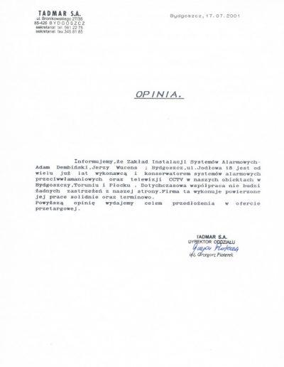 Referencje 16 TADMAR S.A. w Bydgoszczy 2001r