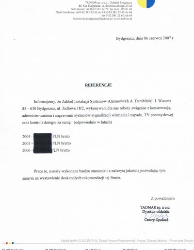 Referencje 17 TADMAR S.A. w Bydgoszczy 2007r