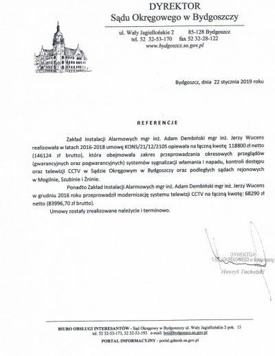 Referencje 3 S.O. w Bydgoszczy 2019r