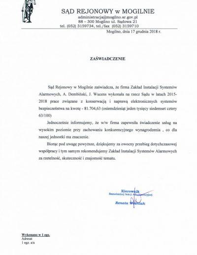 Referencje 4 S.R. w Mogilnie 2018r