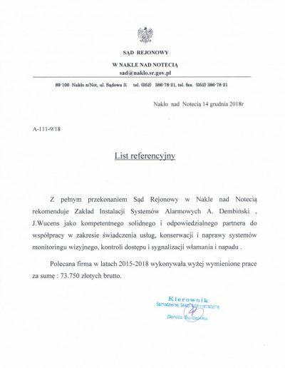Referencje 5 S.R. w Nakle 2018r