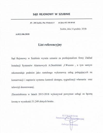 Referencje 6 S.R. w Szubinie 2018r
