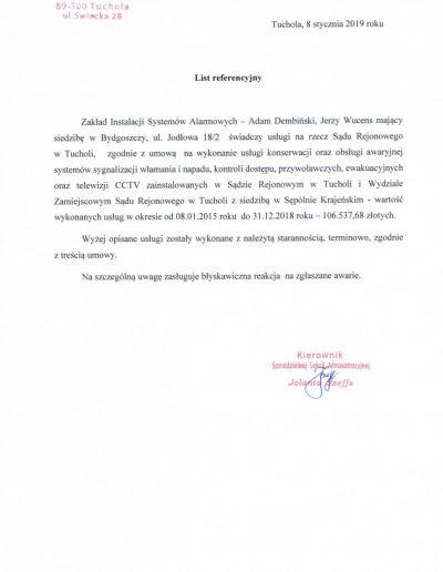 Referencje 7 S.R. w Tucholi 2019r