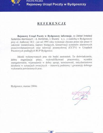 Referencje 9 Poczta Polska RUP w Bydgoszczy 2004r